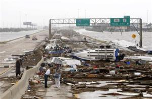 Damage from Ike on highway near Galveston, TX
