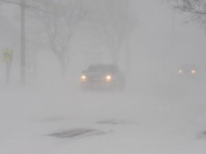 Whiteout conditions in eastern NB