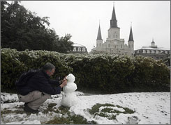 Snow in New Orleans French Quarter