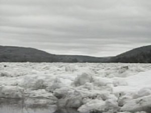 Ice jam on St. John River near Perth-Andover, NB