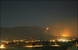 Fires rage above Santa Barbara, CA, USA