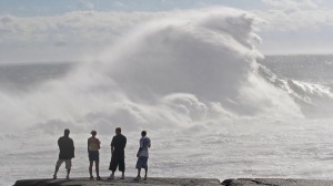 Huge waves crash ashore at Peggys Cove, NS