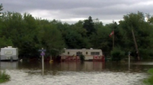 Flooded campground along Nine Mile River, NS