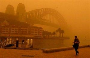 Dust shrouds Sydney Harbour, Sept.23.09