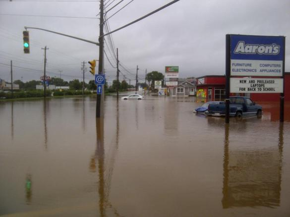 Flooding on Robie Street, Truro, NS, 10 September 2012 (Courtesy Facebook)