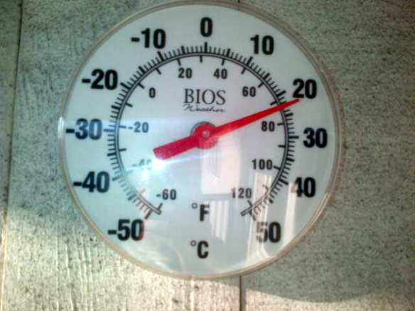My thermometer in NE Moncton reads 22 C, 12 Nov 2012 (Dearing photo)