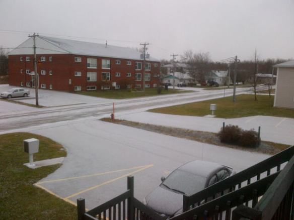 Snow begins to fall this morning NE Moncton, 10 Dec 2012 (Dearing photo)
