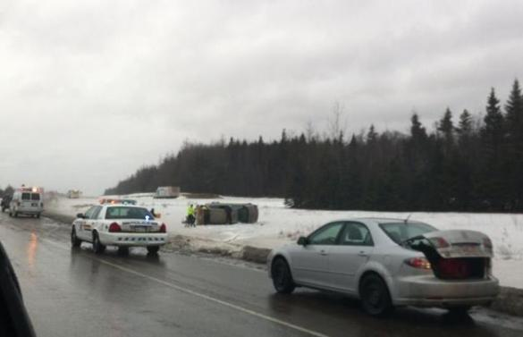 A car crash near Memramcook on TCH, 30 Jan 2013 (Newschaser/Facebook)