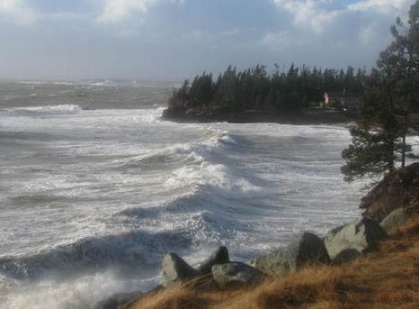 High waves at Welsh Cove along Bay of Fundy (TWN)
