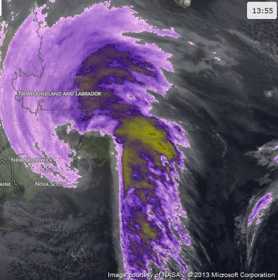 Satellite image of the storm, 4 Feb 2013