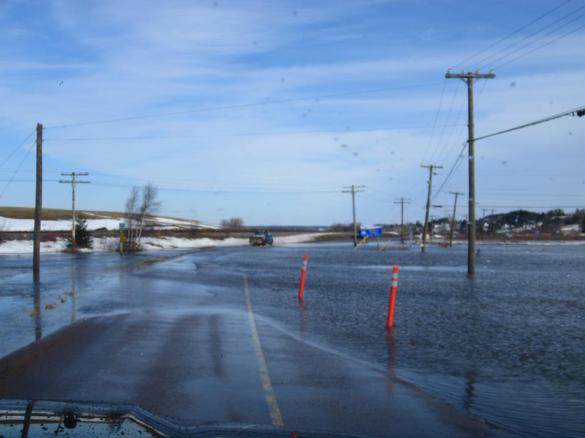 Flooding on Route 106, south of Moncton, 14 March 2013 (Facebook)