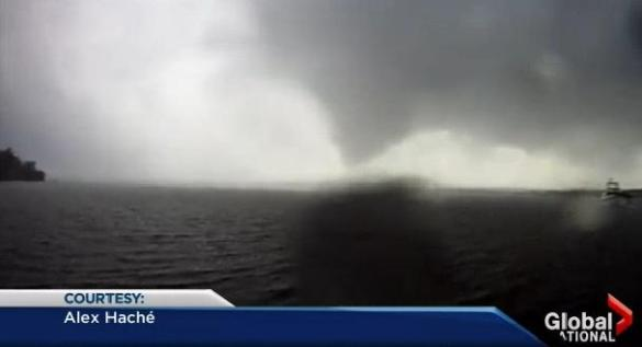 Funnel cloud over Grand Lake, 21 July 2013 (Screen capture courtesy Alex Hache/ Global News)