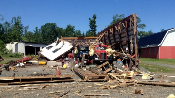 Damage from the Grand Lake area tornado, 21 July 2013 (Courtesy CTV)