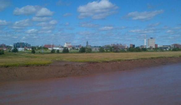 Downtown Moncton from Gunningsville Bridge, 15 Sept 2013 (Dearing)