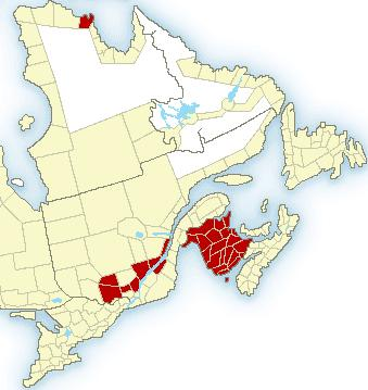 Frost warning issued for areas in red, 05 Sept 2013 (courtesy Environment Canada)