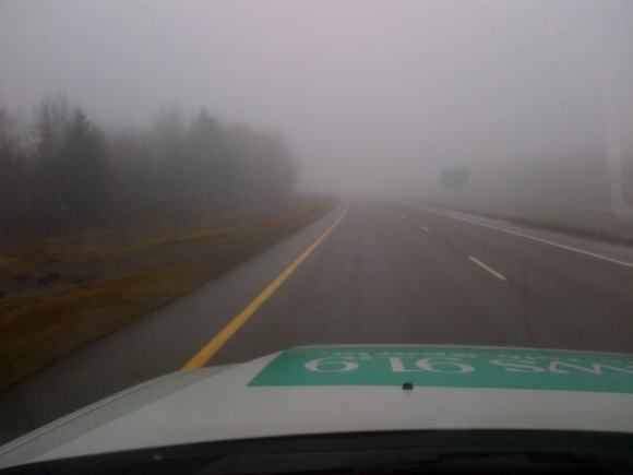 A foggy day along Highway 15 in SE New Brunswick, 03 Dec 2013 (News 91.9)