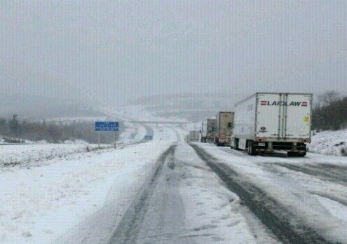 Tractor trailers stuck on the Cobequid Pass, 04 Dec 2013 (Facebook)