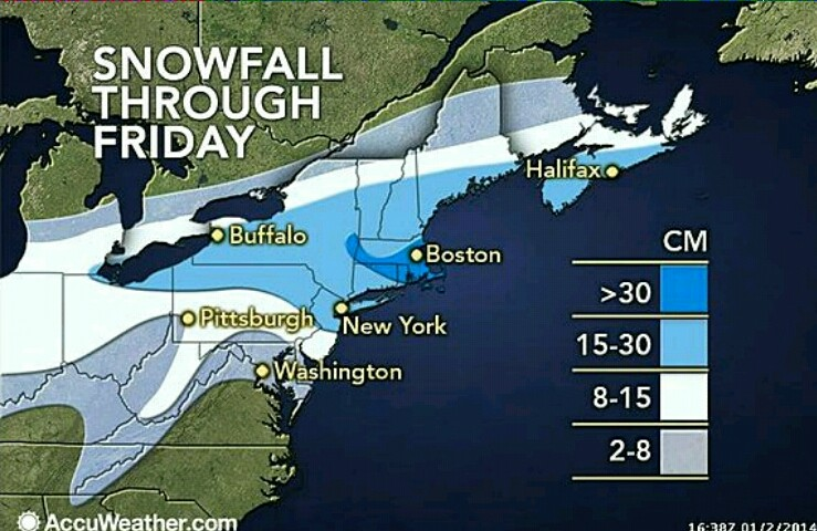 The first winter storm of 2014 – number five of the season – is