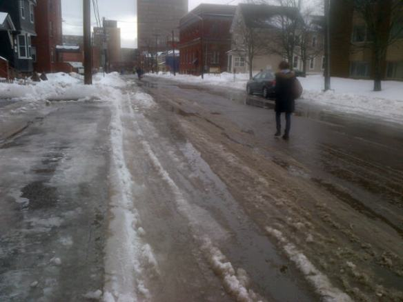 Moncton pedestrians choose street over sidewalk after messy mix, 14 Feb 2014 (Dearing)