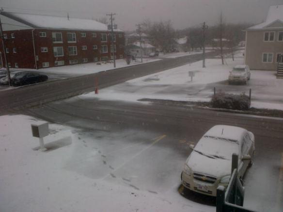 Snow in my NE Moncton neighbourhood, 24 April 2014 (Dearing)