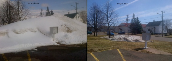 Huge snow mountain nearly gone after two weeks (Dearing)