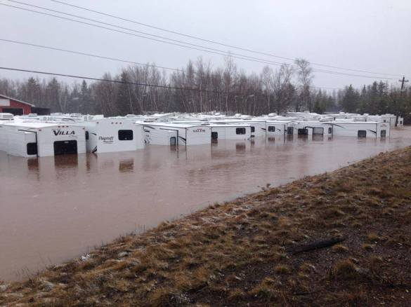 RV dealership under floodwaters near Sussex, 16 April 2014 (Facebook)