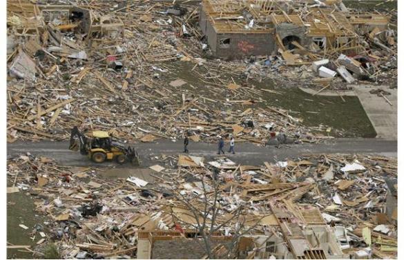 Tornado destruction in Mayflower, Arkansas, 28 April 2014 (AP)