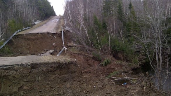 Major washout on Falconer Road in Notre-Dame, NB, 21 April 2014 (Facebook)