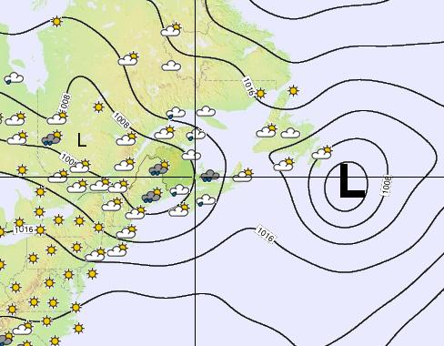A persistent low pressure system parked off Newfoundland, 26 May 2014 (Courtesy Weather-Forecast.com)