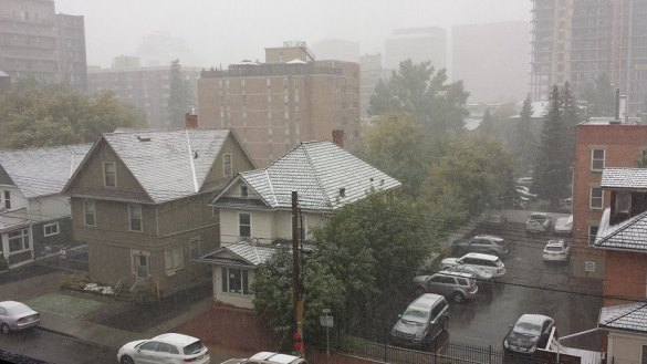 Snow in Calgary, AB, 08 Sept 2014 (Facebook)