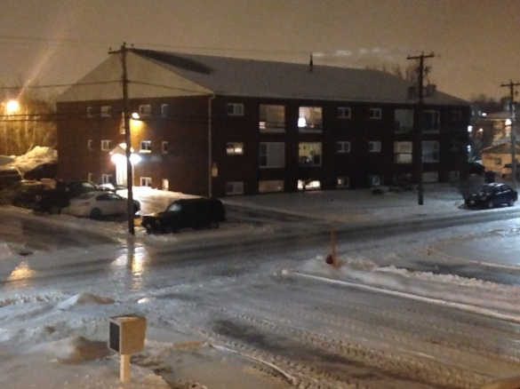 Freezing rain turns streets into ice rinks, NE Moncton, 04 Jan 2015 (Dearing)