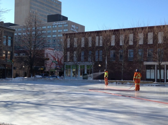 Workers creating an ice rink at Moncton City Hall Plaza, 08 January 2015 (Dearing)