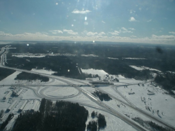 Flying over Dieppe-Scoudouc TCH interchange, 01 Feb 2015