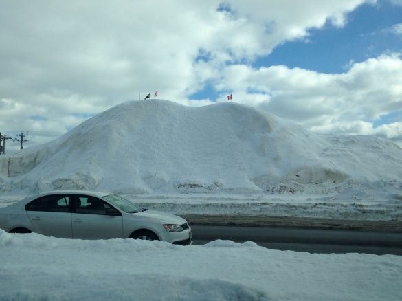 A huge mountain of snow next to the VIA Rail station, Moncton, NB, 04 March 2015 (Dearing)