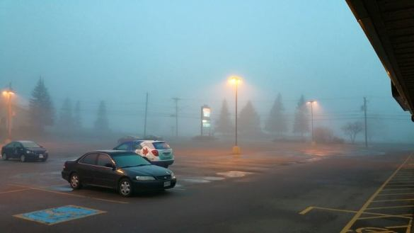 Freezing fog in downtown Moncton, 26 April 2015 (Facebook/Heintzman)