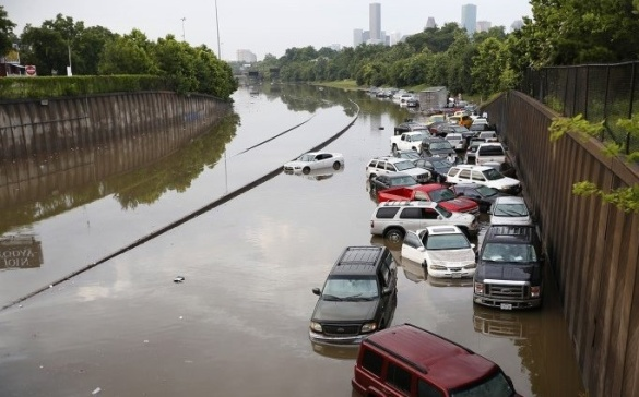 Dozens of vehicles submerged by floodwaters on Interstate Highway 45 in Houston, Texas, USA (AP)