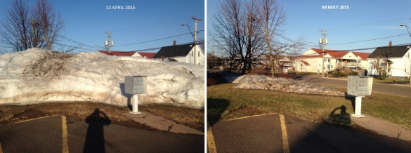 The difference in snowbank size over three week period in NE Moncton (Dearing)