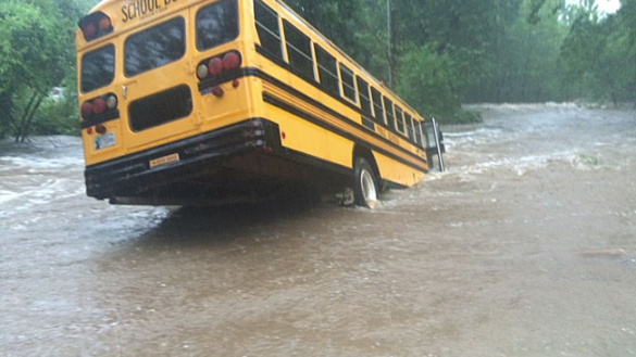 Floodwaters strand a school bus north of Ardmore, Oklahoma, USA (Accuweather.com)