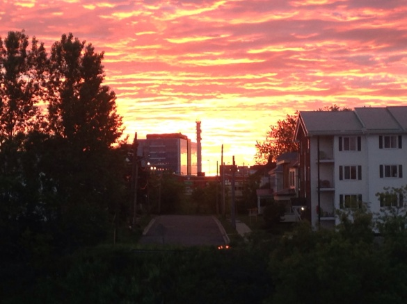 Looking east at downtown Moncton during sunrise, 25 June 2015 (Dearing)