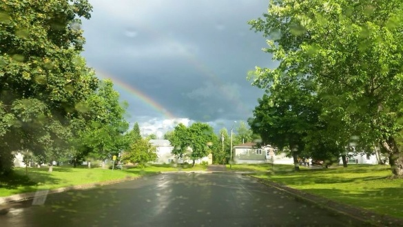 Double rainbow over Riverview, NB, 06 August 2015 (T. Squires/Facebook)