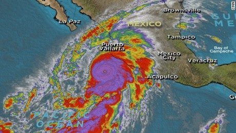 Satellite image of Hurricane Patricia, 23 Oct 2015 (courtesy CNN)