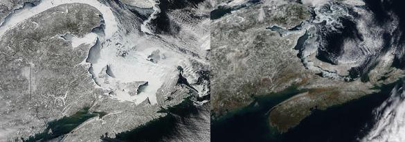 Satellite of the Maritimes, mid-February 2015 (left), mid-February 2016 (right) (NASA)